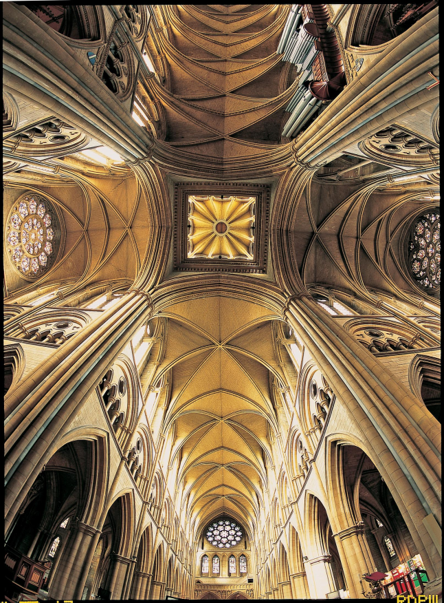 Fish Eye View From The Transept Crossing Showing All Three Rose Windows